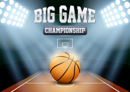 basketball team: Horizontal Background night basketball stadium in the spotlight with big ball. Editable Vector Illustration. Illustration