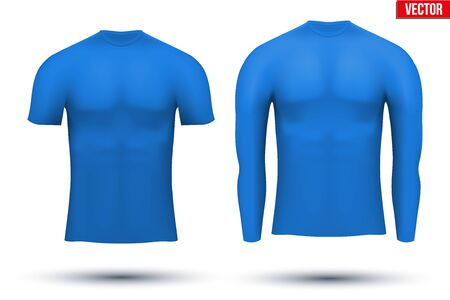 absorption: Blue Base layer compression shirt of thermal fabric. Sample typical technical illustration.  Vector Illustration isolated on white background