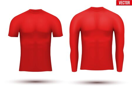 absorption: Red Base layer compression shirt of thermal fabric. Sample typical technical illustration.  Vector Illustration isolated on white background