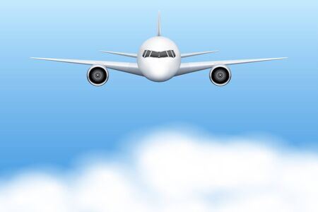 private jet: Background of Front view of Civil Aircraft airplane with sky and clouds. Vector Illustration