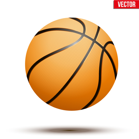 Basketball ball isolated on a white background. Realistic Vector Illustration. Vettoriali