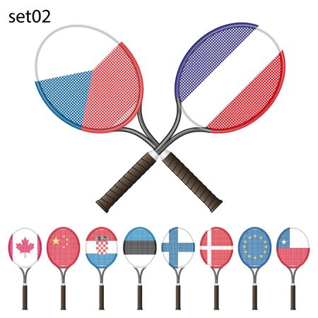 raquet: Tennis racket painted in the colors of the flag different countries. Vector Illustration isolated on white background Illustration