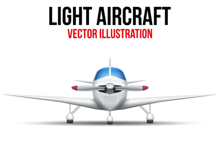 private jet: Front view of Civil Light Aircraft. Vector Illustration isolated on background.