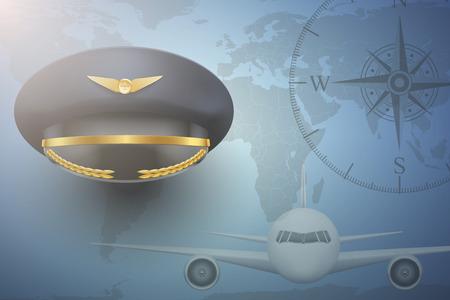 aircrew: Pilot aircraft civil aviation background. Peaked Cap on map.  Editable Vector Illustration.