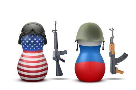 kalashnikov: Russian and USA military dolls with gun. Vector Illustration. Illustration
