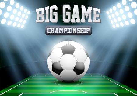 Horizontal Background night football soccer stadium in the spotlight with big ball. Editable Vector Illustration.