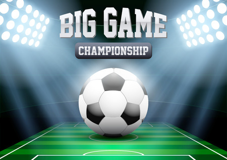 big game: Horizontal Background night football soccer stadium in the spotlight with big ball. Editable Vector Illustration.