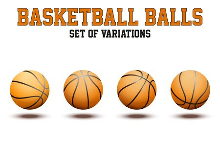 pumped: Different variations of Basketball ball. Realistic Vector Illustration isolated on a white background. Illustration