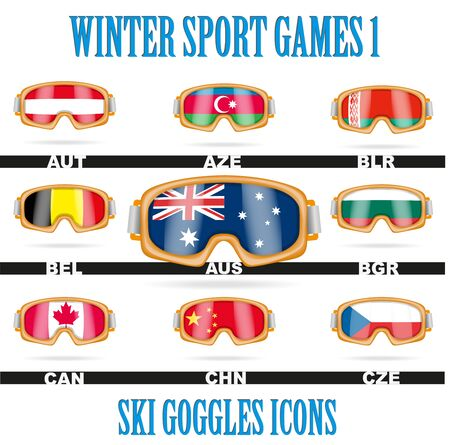 ski wear: Set of Ski goggles icons of the flag different countries. Winter Sport Vector Illustration isolated on white background