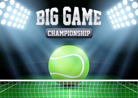tenis: Horizontal noche Antecedentes estadio de tenis en el centro de atención con la bola grande. Ilustración vectorial editable.