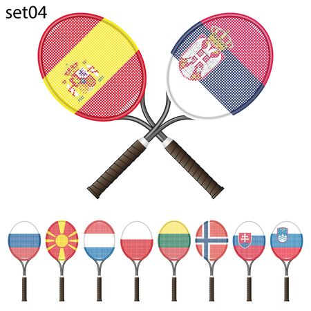 color match: Tennis racket painted in the colors of the flag different countries. Vector Illustration isolated on white background Illustration