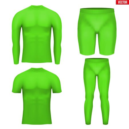 compression: Green Base layer compression set of thermal fabric. Sample typical technical illustration.  Vector Illustration isolated on white background