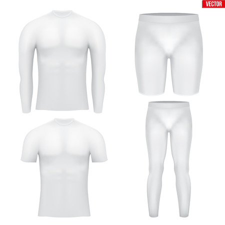 wetness: White Base layer compression set of thermal fabric. Sample typical technical illustration.  Vector Illustration isolated on white background