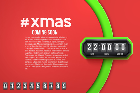 cronograma: Antecedentes creativa Feliz Navidad viene pronto y temporizador de cuenta atrás con muestras dígitos. Ilustración del vector aislado en el fondo blanco. Vectores