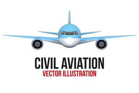 aircraft aeroplane: Front view of Civil Aircraft. Vector Illustration isolated on background. Illustration