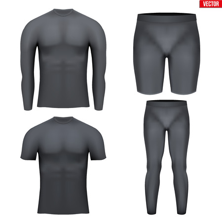 compression: Black Base layer compression set of thermal fabric. Sample typical technical illustration.  Vector Illustration isolated on white background Illustration