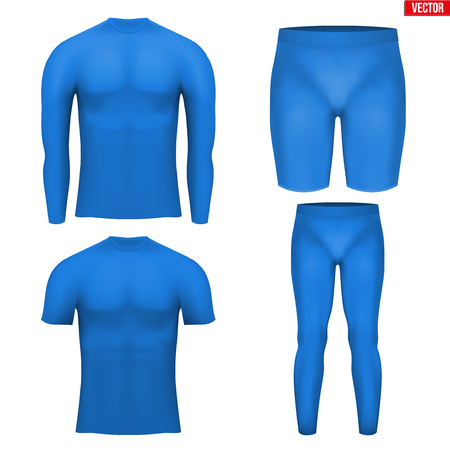 absorption: Blue Base layer compression set of thermal fabric. Sample typical technical illustration.  Vector Illustration isolated on white background