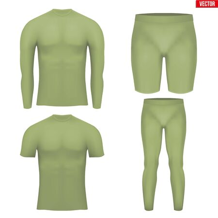 compression: Khaki Base layer compression set of thermal fabric. Sample typical technical illustration.  Vector Illustration isolated on white background Illustration