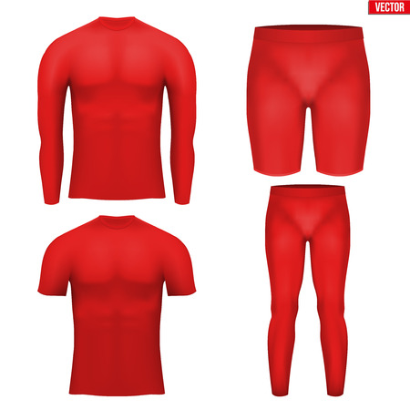 compression: Red Base layer compression set of thermal fabric. Sample typical technical illustration.  Vector Illustration isolated on white background Illustration