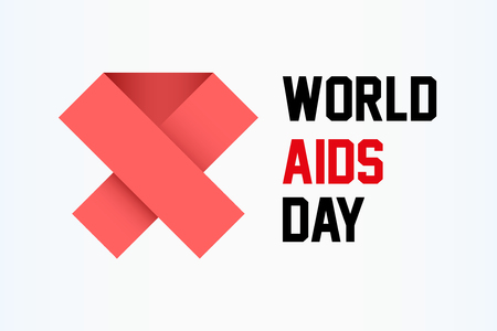 aids virus: World AIDS Day square horizontal background with red ribbon. Vector Illustration. Illustration
