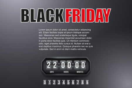 Creative Background Black Friday and countdown timer with digit samples. Vector Illustration isolated on white background.