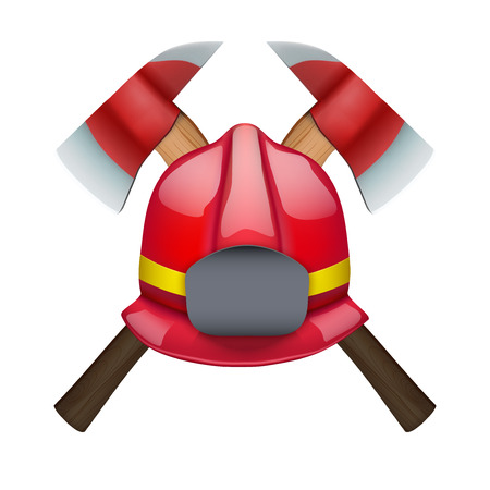 public servants: Firefighter Axes and helmet. Vector Illustration isolated on white background
