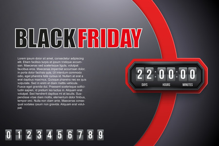 retail display: Creative Background Black Friday and countdown timer with digit samples. Vector Illustration isolated on white background.