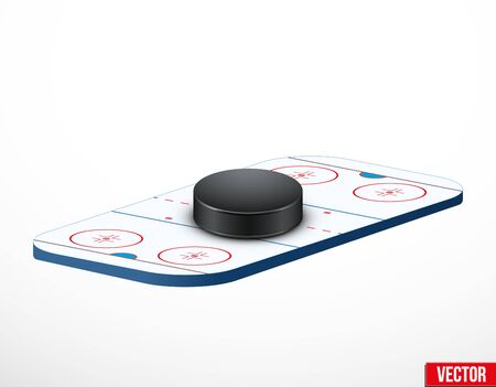 ice arena: Symbol of a hockey puck and ice arena in three-dimensional space. Vector illustration.