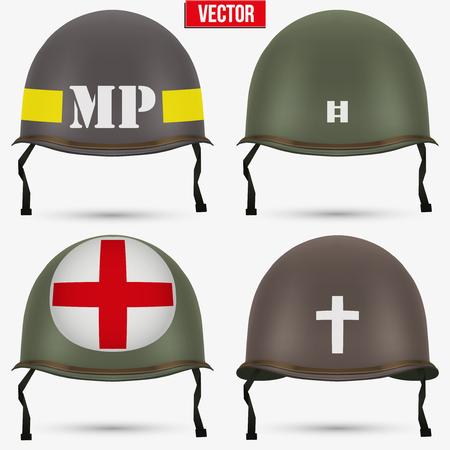 第二次世界大戦の軍歩兵の緑色のヘルメットのセットです。メディック、キャプテン、警察および牧師の記章。白い背景のベクトル イラスト分離さ  イラスト・ベクター素材