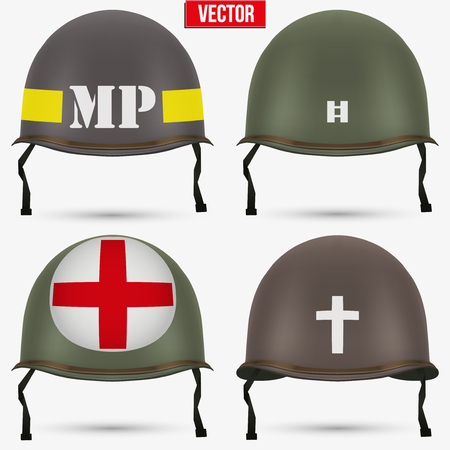 Set of Military US green helmet infantry of WWII. Insignia of medic, captain, police and chaplain. Vector illustration Isolated on white background. Illustration