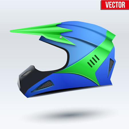 mx: Original Motorcycle Helmet. Extreme enduro motocross style. Green and blue. Vector Illustration. Illustration