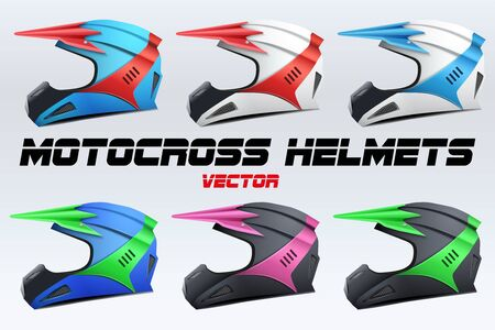 mx: Set of Original Motorcycle Helmets. Extreme enduro motocross style. Vector Illustration.