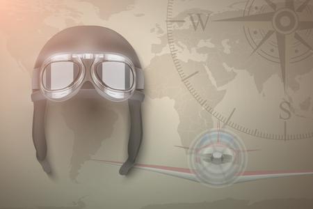 light aircraft: Background of Aviator and light aircraft. Helmet on map.  Editable Vector Illustration. Illustration