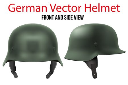 Military German green helmet of WW2. Metallic army symbol of defense. Vector illustration Isolated on white background.