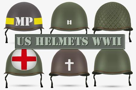 insignia: Conjunto de cascos verdes militares de los EEUU de la infantería de la Segunda Guerra Mundial. Insignia del médico, el capitán, la policía y capellán. Ilustración del vector aislado en el fondo blanco. Vectores