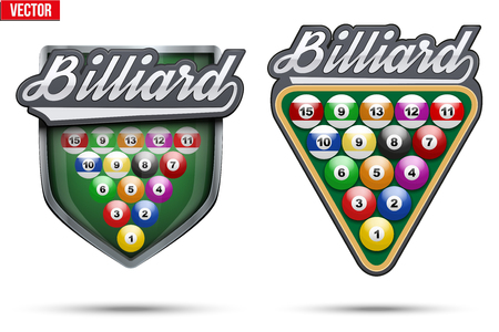 pool player: Set of Premium symbols of Billiard label and tag. Symbol of sport or club. Vector Illustration isolated on white background.