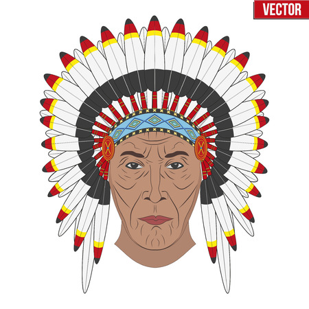 feathered: Indian chief in a feathered hat. Front view. Graphic style