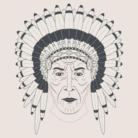 feathered: Indian chief in a feathered hat. Front view. Graphic style.