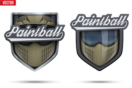 paintball: Set of Premium symbols of Paintball label and tag. Symbol of sport or club. Illustration isolated on white background.