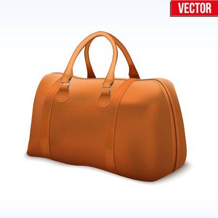 leather bag: Classic Stylish Leather Handle Bag. Fashion accessory. Illustration Isolated on white background.