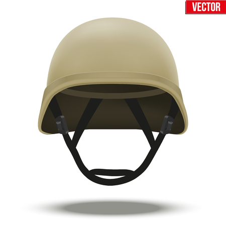 tactical: Military tactical helmet of rapid reaction. Desert color. Army and police symbol of defense. Illustration isolated on white background.