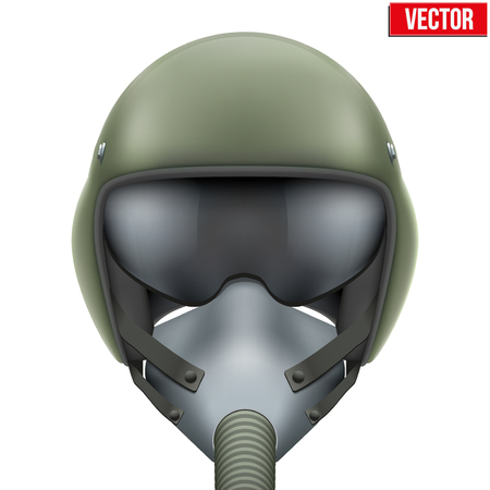 oxygen transport: Military flight fighter pilot helmet of Air Force with oxygen mask. illustration isolated on white background.