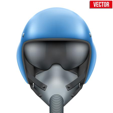 oxigeno: Militares vuelo piloto de caza casco azul de la fuerza a�rea con mascarilla de ox�geno. ilustraci�n aislado sobre fondo blanco. Vectores