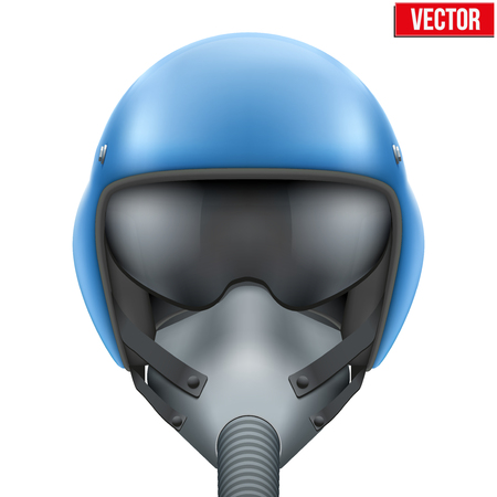 helicopter pilot: Military flight fighter pilot blue helmet of Air Force with oxygen mask. illustration isolated on white background. Illustration