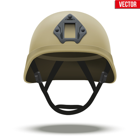 tactical: Military tactical helmet of rapid reaction. Desert color. Army and police symbol of defense. illustration Isolated on white background. Illustration