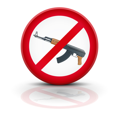 terrorism crisis: Sign with gun and symbol Stop terrorism. illustration Isolated on white background.