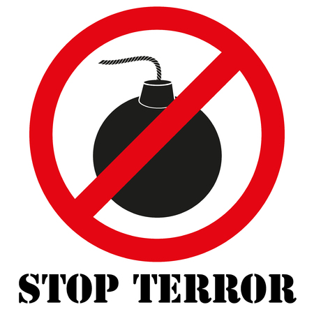 terror: Sign with gun and inscription Stop terror. Graphic symbol. illustration Isolated on white background.