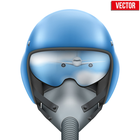 fighter pilot: Military flight fighter pilot blue helmet of Air Force with oxygen mask. illustration isolated on white background. Illustration