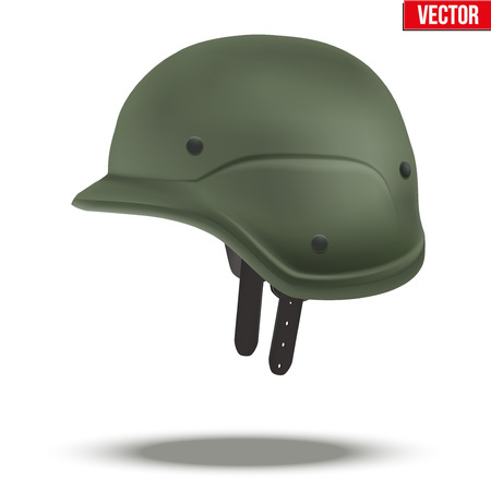 rapid: Military tactical helmet of rapid reaction. Side view. Army and police symbol of defense. illustration Isolated on white background.