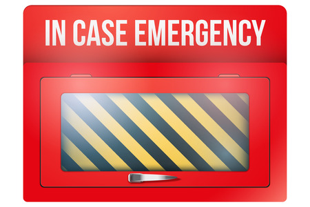 glass containers: Empty red emergency box with in case of emergency breakable glass. illustration Isolated on white background.